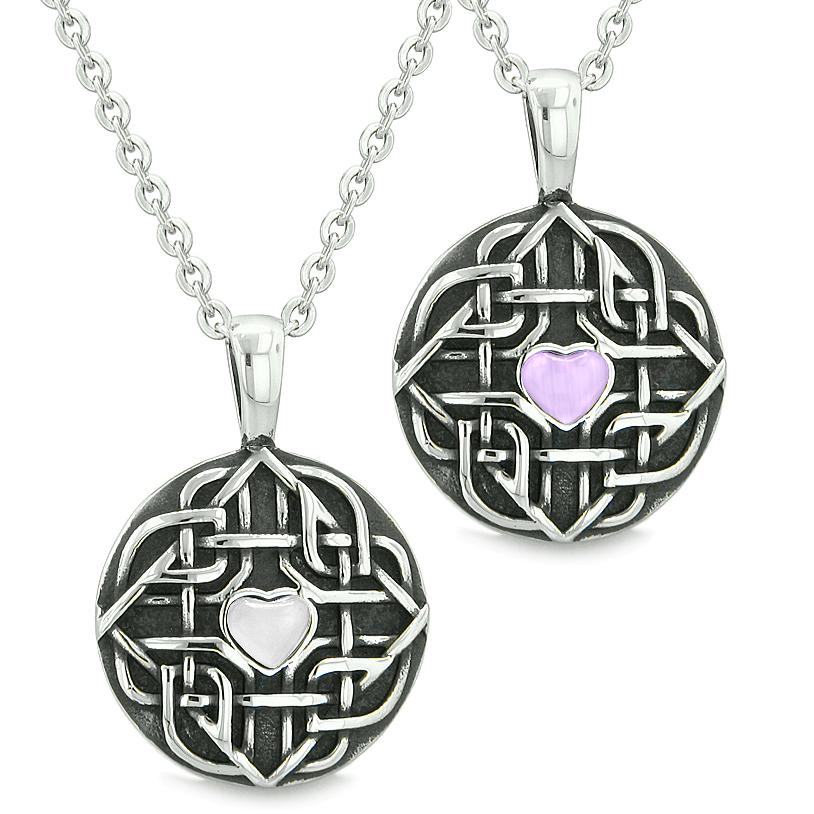 Amulets Love Couple Best Friends Celtic Shield Knot Heart Purple White Simulated Cats Eye Necklaces