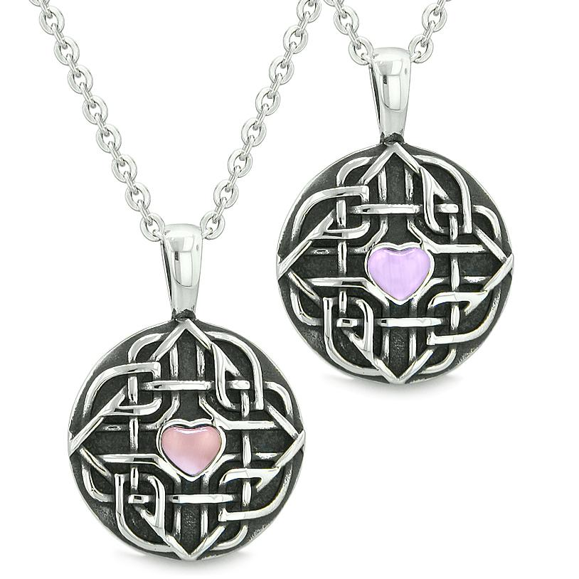 Amulets Love Couple Best Friends Celtic Shield Knot Heart Purple Pink Simulated Cats Eye Necklaces