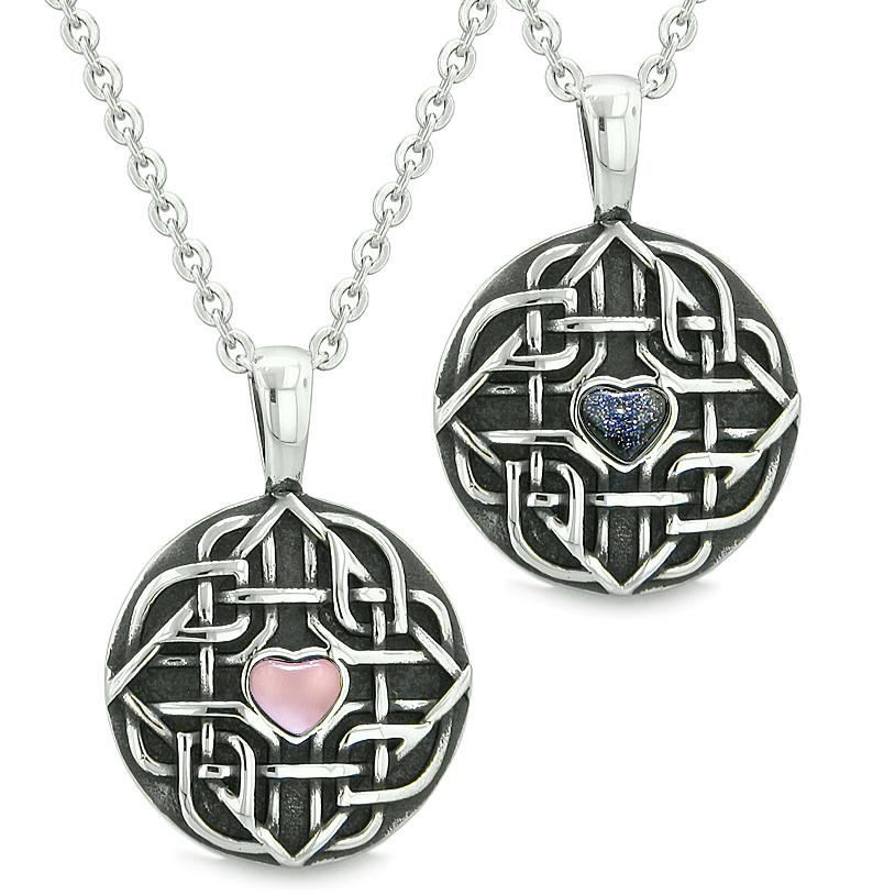 Amulets Love Couple Best Friends Celtic Shield Knot Heart Pink Cats Eye Blue Goldstone Necklaces