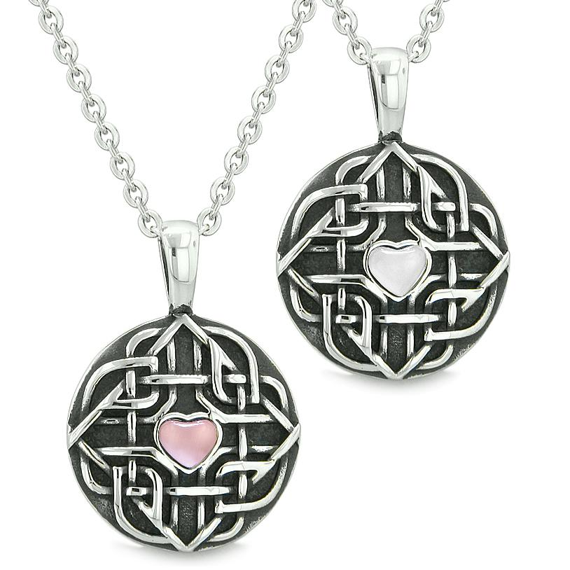 Amulets Love Couple or Best Friends Celtic Shield Knot Magic Heart Pink White Cats Eye Necklaces