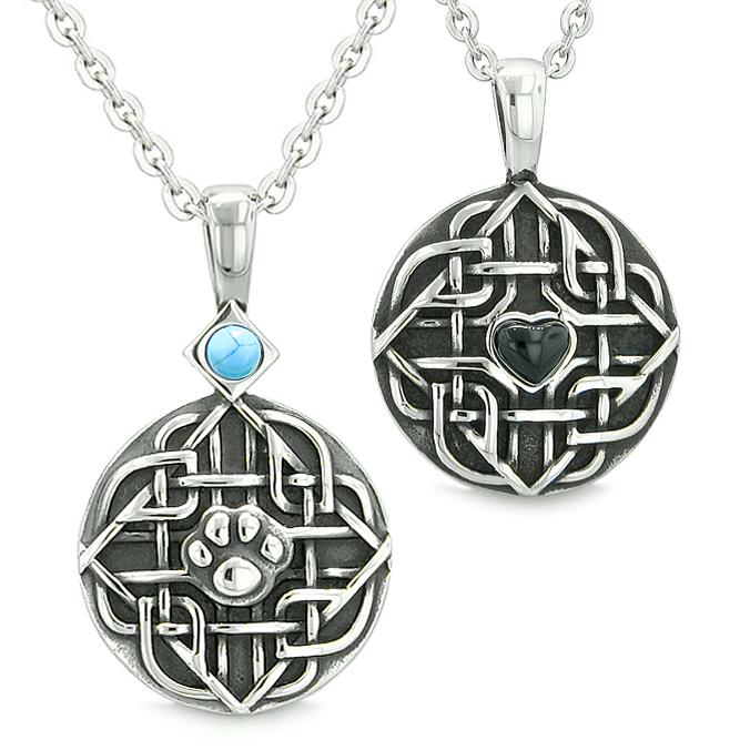 Amulets Love Couple or Best Friends Celtic Shield Wolf Paw Heart Simulated Turquoise Onyx Necklaces