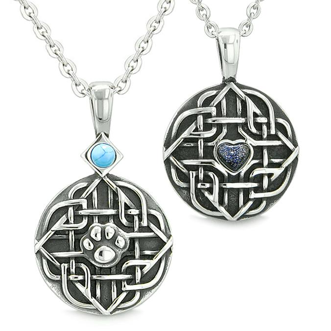 Amulets Couples Best Friends Celtic Shield Wolf Paw Heart Simulated Turquoise Goldstone Necklaces