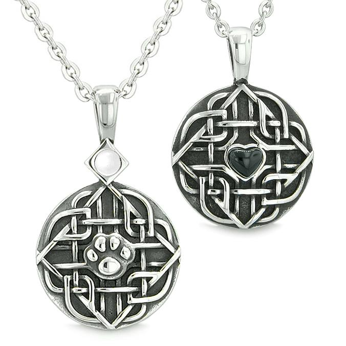 Amulets Couples Best Friends Celtic Shield Wolf Paw Heart Simulated Onyx White Cats Eye Necklaces