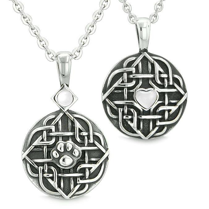 Amulets Love Couple Best Friends Celtic Shield Wolf Paw Heart White Cats Eye Crystals Necklaces