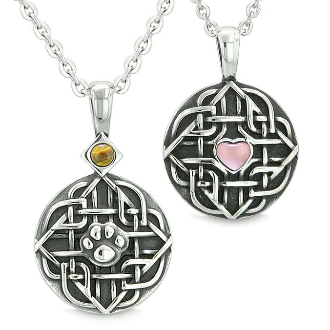 Amulets Love Couple Best Friends Celtic Shield Wolf Paw Heart Tiger Eye Pink Cats Eye Necklace
