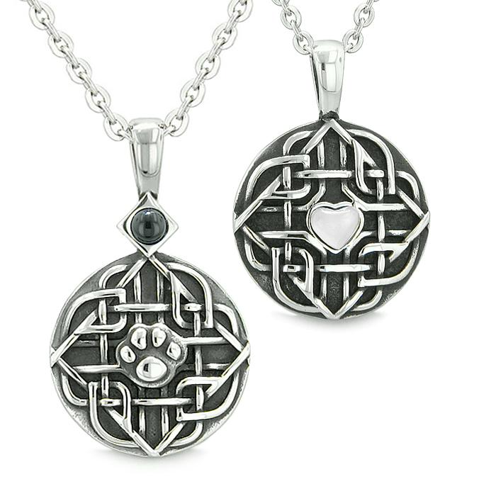 Amulets Couples Best Friends Celtic Shield Wolf Paw Heart White Cats Eye Simulated Onyx Necklaces
