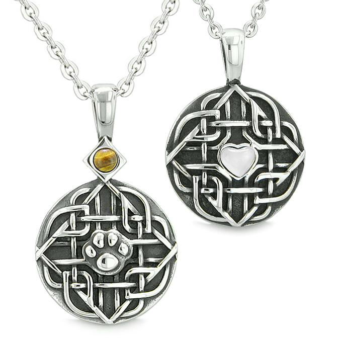 Amulets Love Couple Best Friends Celtic Shield Wolf Paw Heart Tiger Eye White Cats Eye Necklace