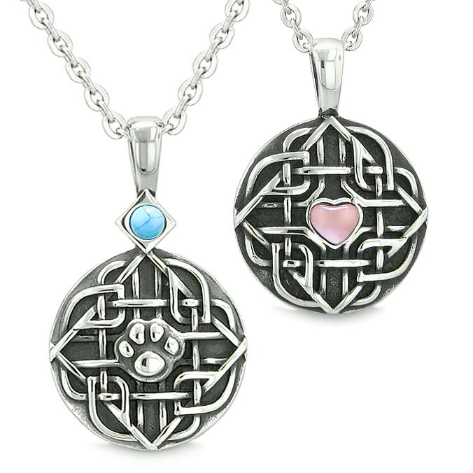 Amulets Couples Best Friends Celtic Wolf Paw Heart Simulated Turquoise Pink Cats Eye Necklaces