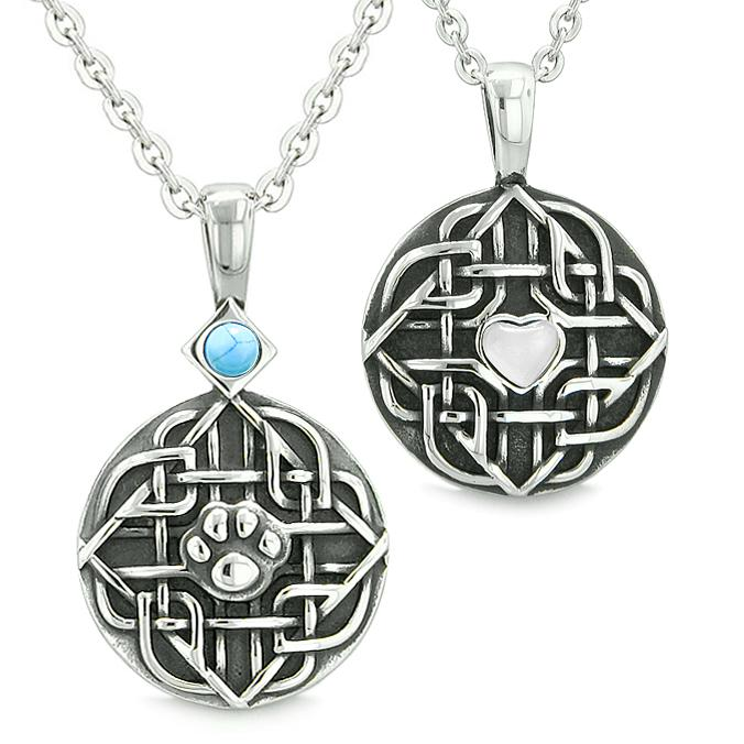 Amulets Love Couples Best Friends Celtic Wolf Paw Heart Simulated Turquoise White Cats Eye Necklace