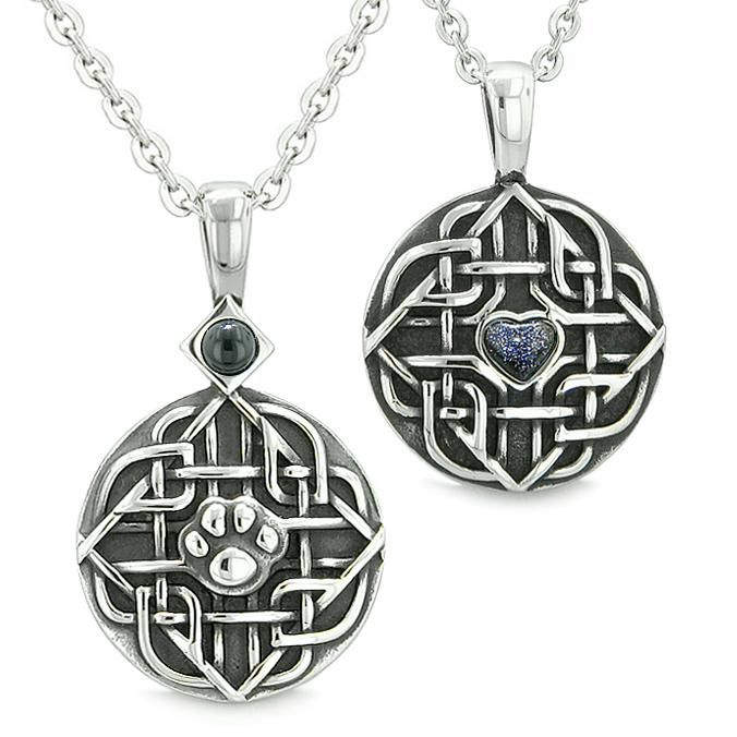 Amulets Love Couple Best Friends Celtic Shield Wolf Paw Heart Simulated Onyx Goldstone Necklaces