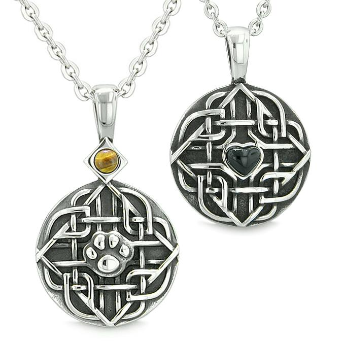 Amulets Love Couple Best Friends Celtic Shield Wolf Paw Heart Tiger Eye Simulated Onyx Necklaces
