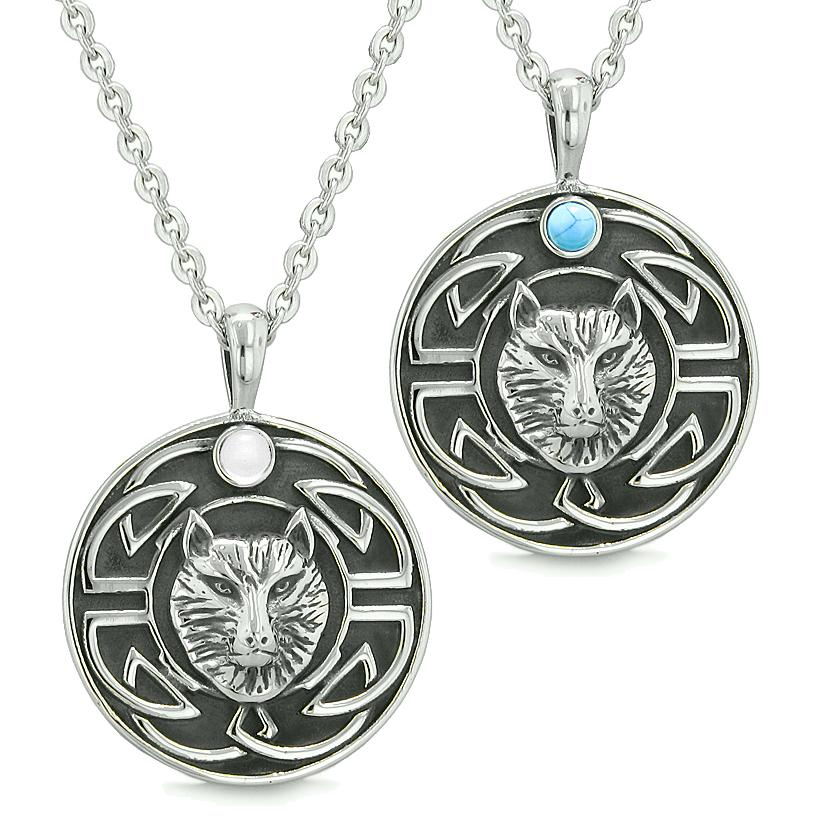 Amulets Love Couple or Best Friends Celtic Viking Wolf White Cats Eye Simulated Turquoise Necklaces
