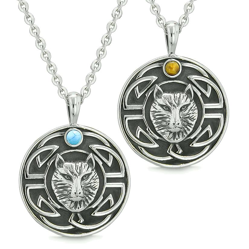 Amulets Love Couple or Best Friends Celtic Viking Wolf Set Tiger Eye Simulated Turquoise Necklaces