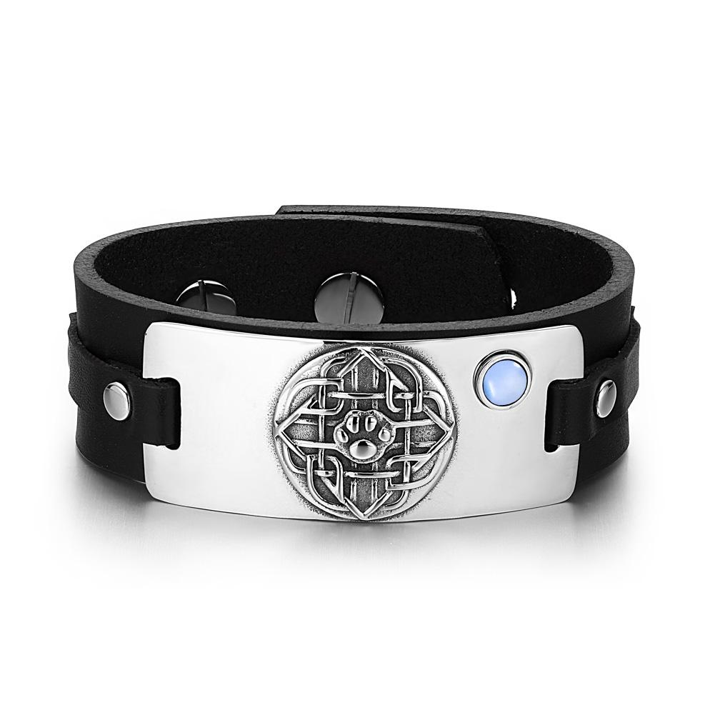 Wolf Paw Celtic Shield Knot Magic Amulet Blue Simulated Cats Eye Adjustable Black Leather Bracelet