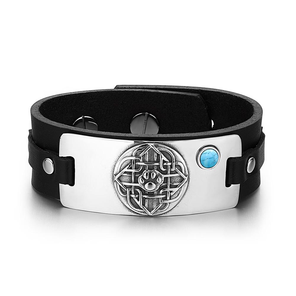 Wolf Paw Celtic Shield Knot Magic Amulet Tag Simulated Turquoise Adjustable Black Leather Bracelet