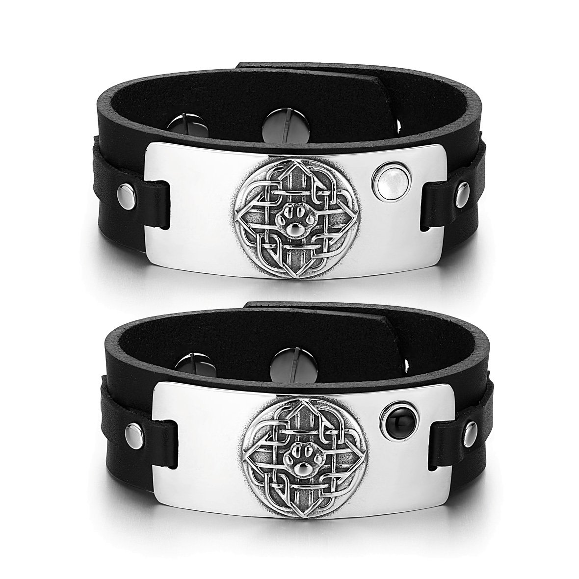 Wolf Paw Celtic Shield Knot Couples White Simulated Cats Eye Simulated Onyx Black Leather Bracelets