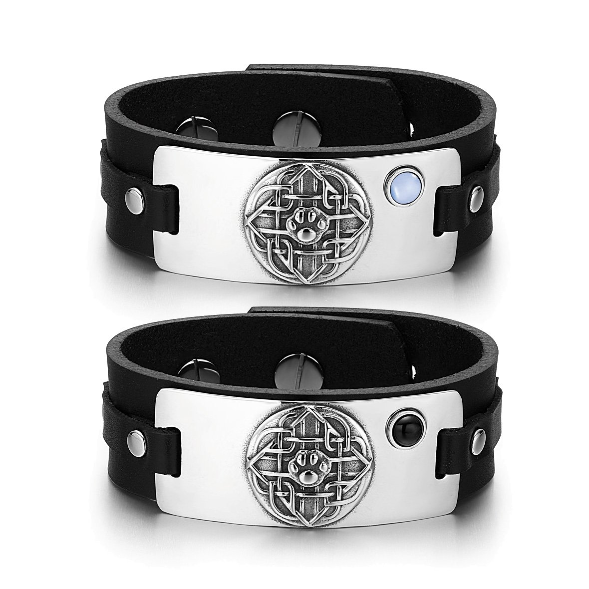 Wolf Paw Celtic Shield Knot Love Couples Blue Simulated Cats Eye Simulated Onyx Leather Bracelets