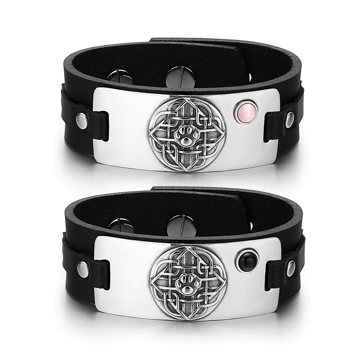 Wolf Paw Celtic Shield Knot Couples Pink Simulated Cats Eye Simulated Onyx Black Leather Bracelets
