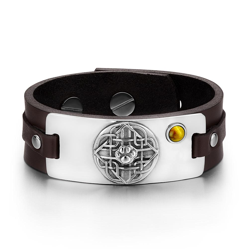 Wolf Paw Celtic Shield Knot Magic Amulet Tiger Eye Gemstone Adjustable Dark Brown Leather Bracelet
