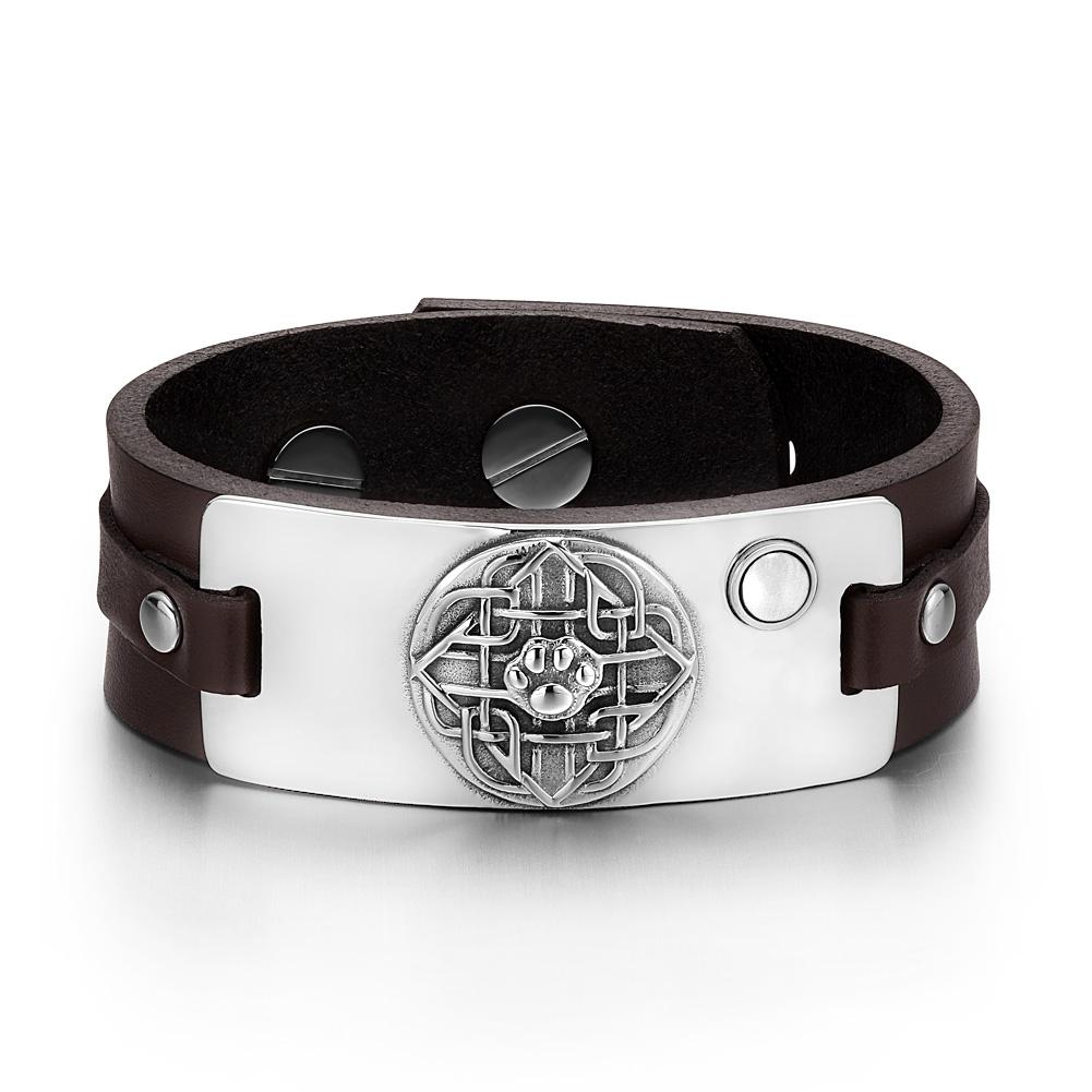 Wolf Paw Celtic Shield Knot Magic Amulet White Simulated Cats Eye Adjustable Brown Leather Bracelet