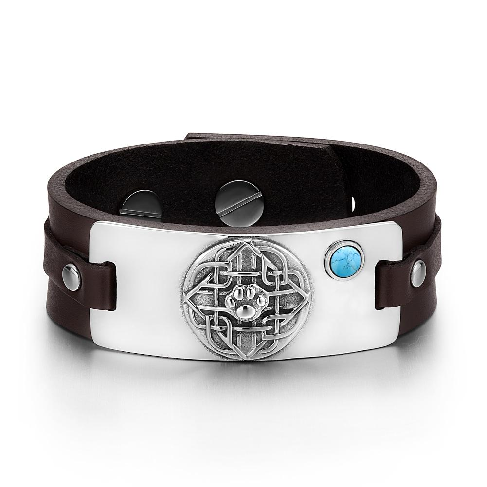 Wolf Paw Celtic Shield Knot Magic Amulet Simulated Turquoise Adjustable Dark Brown Leather Bracelet
