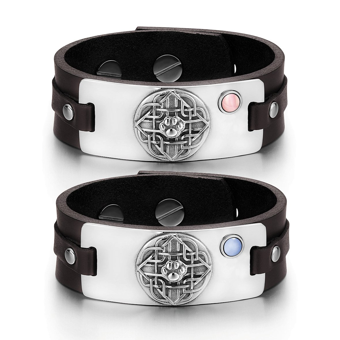 Wolf Paw Celtic Shield Knot Love Couples Pink Sky Blue Simulated Cats Eye Brown Leather Bracelets