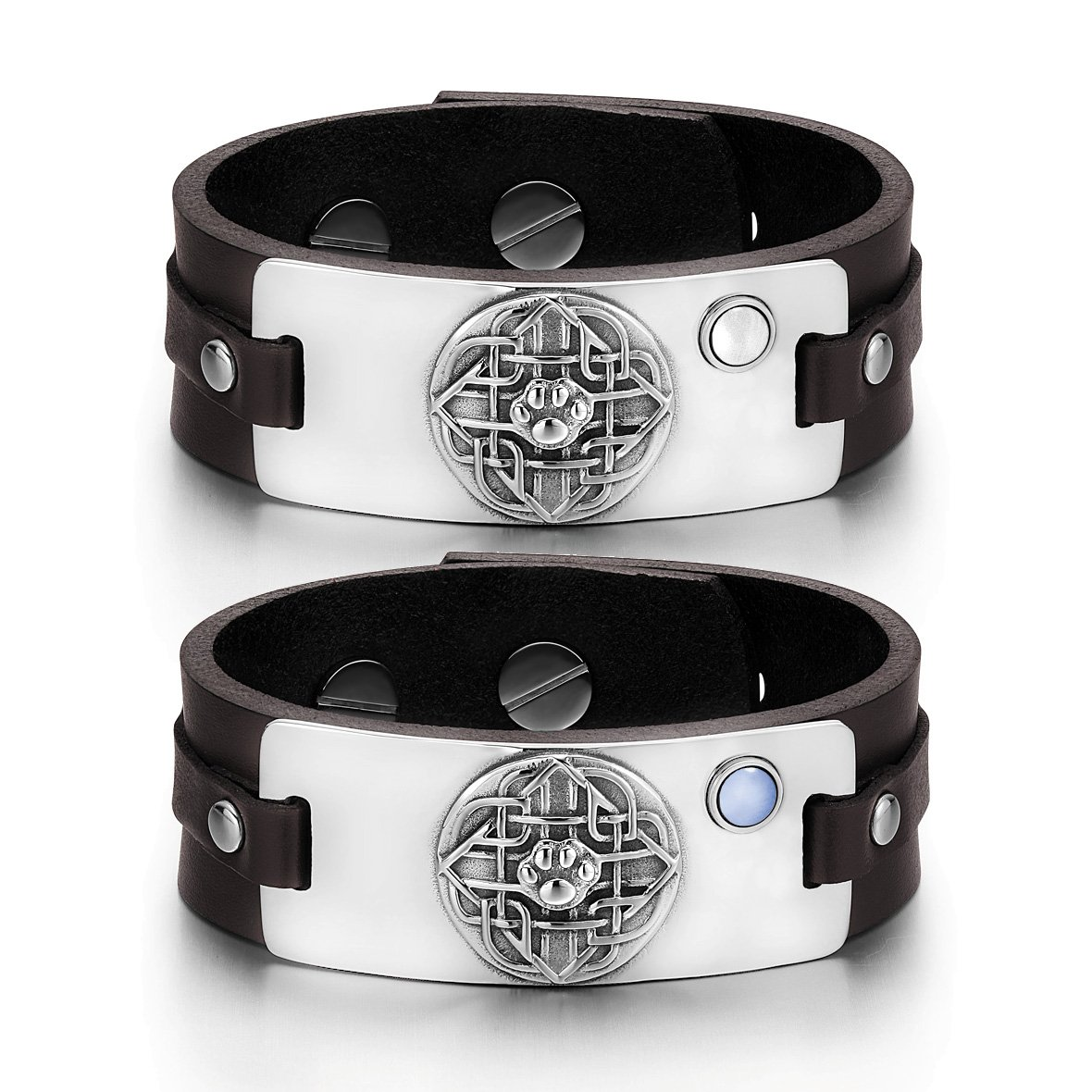 Wolf Paw Celtic Shield Knot Love Couples White Sky Blue Simulated Cats Eye Brown Leather Bracelets
