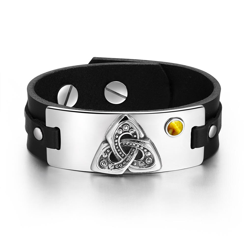 Celtic Triquetra Knot Magic Powers Amulet Tag Tiger Eye Gemstone Adjustable Black Leather Bracelet