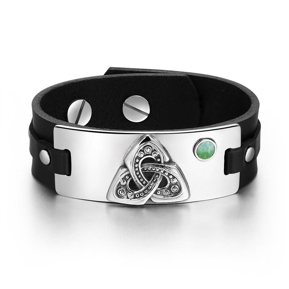 Celtic Triquetra Knot Magic Powers Amulet Green Quartz Gemstone Adjustable Black Leather Bracelet