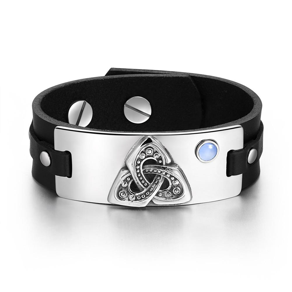 Celtic Triquetra Knot Magic Powers Amulet Blue Simulated Cats Eye Adjustable Black Leather Bracelet