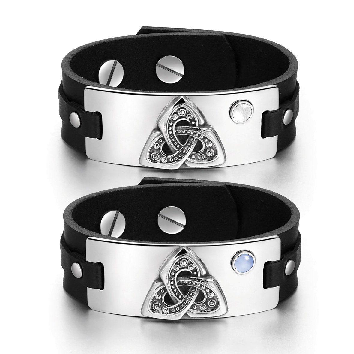 Celtic Triquetra Knot Amulets Love Couples White Blue Simulated Cats Eye Black Leather Bracelets