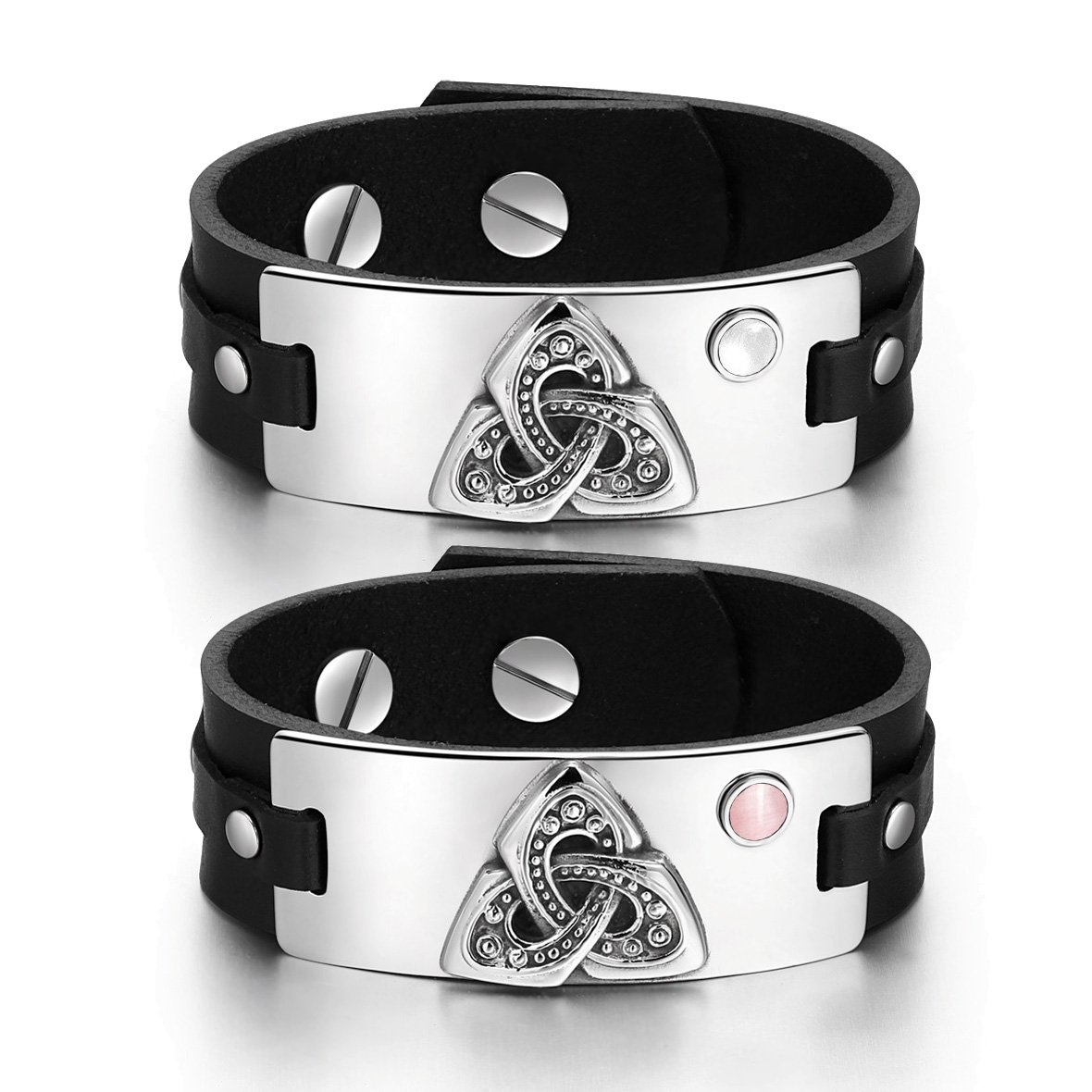 Celtic Triquetra Knot Amulets Love Couples White Pink Simulated Cats Eye Black Leather Bracelets