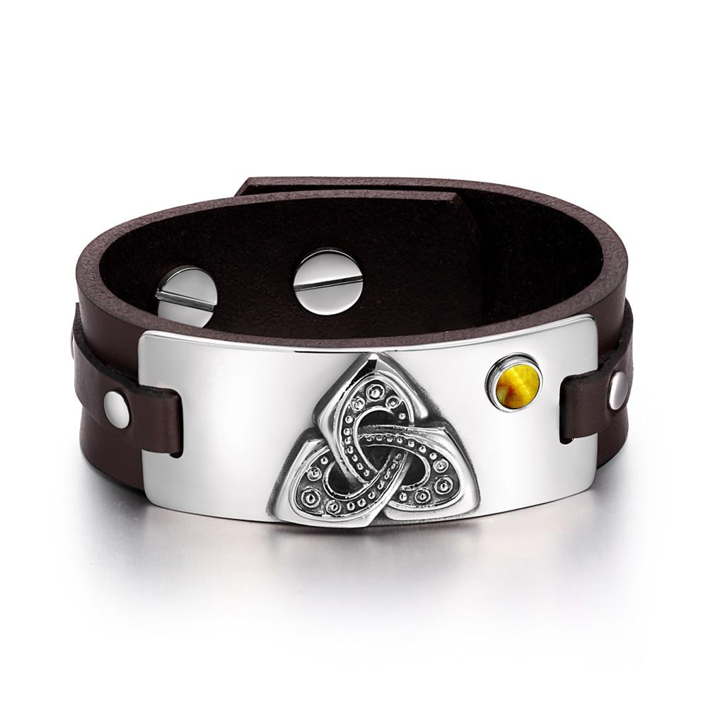 Celtic Triquetra Knot Magic Powers Amulet Tiger Eye Gemstone Adjustable Dark Brown Leather Bracelet