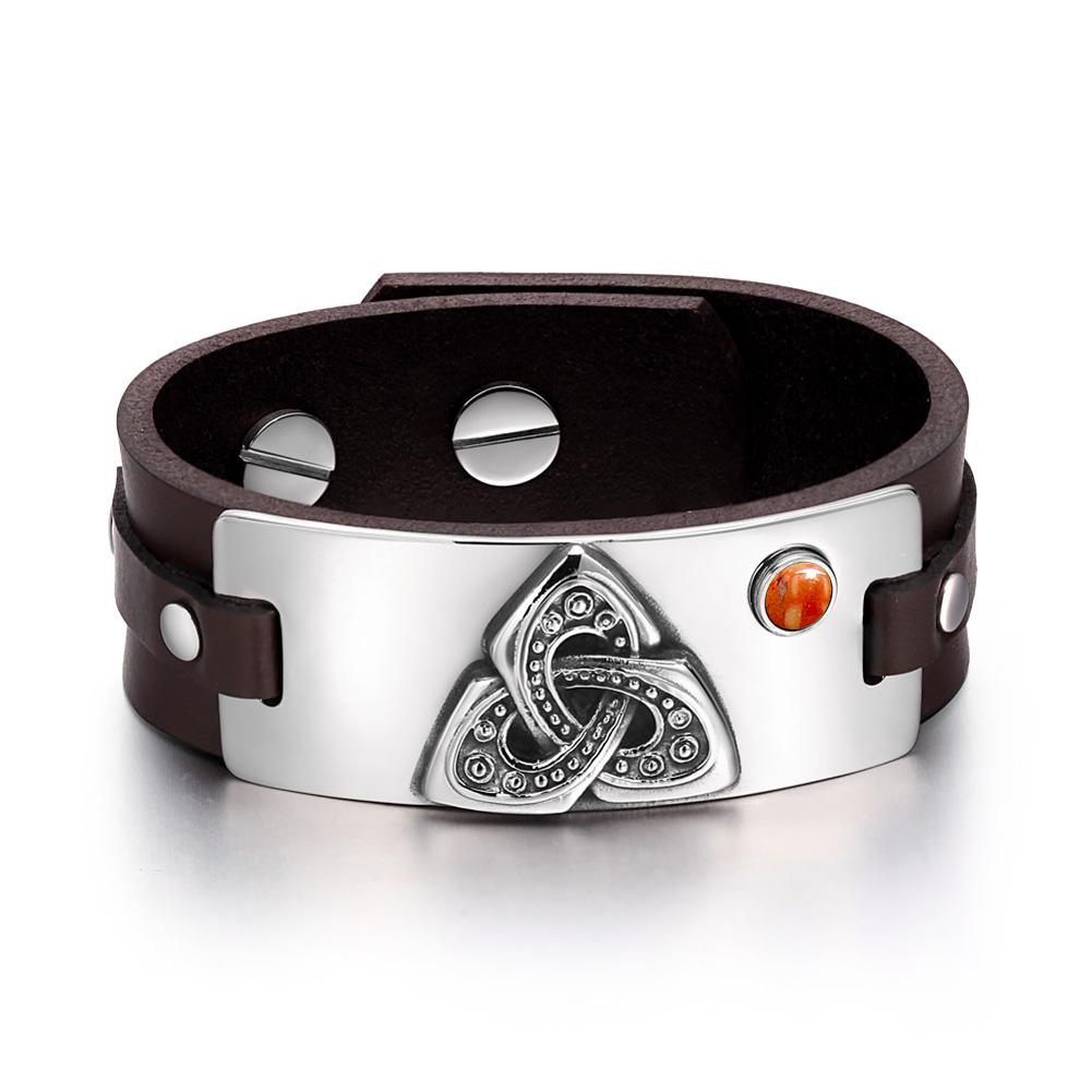 Celtic Triquetra Knot Magic Powers Amulet Red Jasper Gemstone Adjustable Brown Leather Bracelet