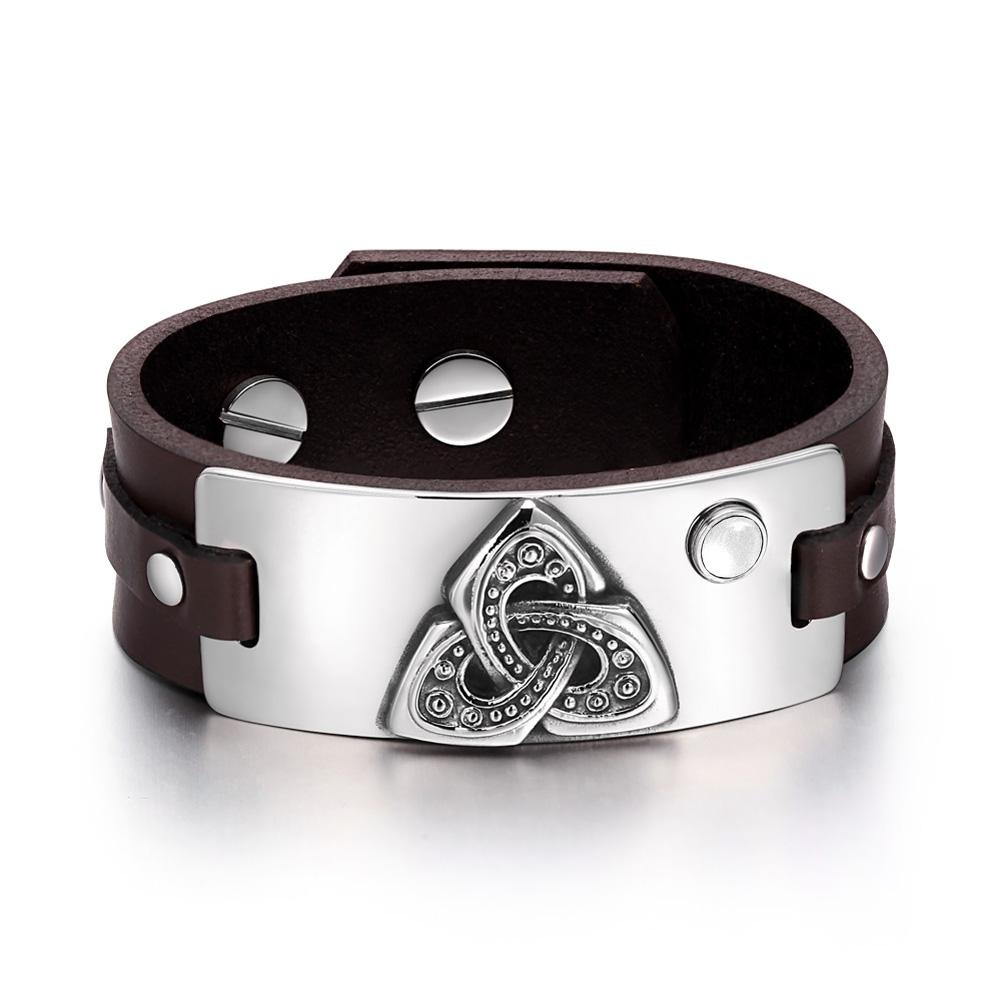 Celtic Triquetra Knot Magic Powers Amulet White Simulated Cats Eye Brown Leather Bracelet