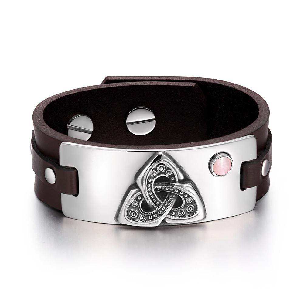 Celtic Triquetra Knot Magic Powers Amulet Pink Simulated Cats Eye Adjustable Brown Leather Bracelet
