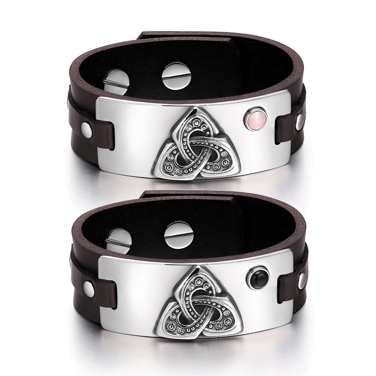 Celtic Triquetra Knot Love Couples Pink Simulated Cats Eye Simulated Onyx Brown Leather Bracelets