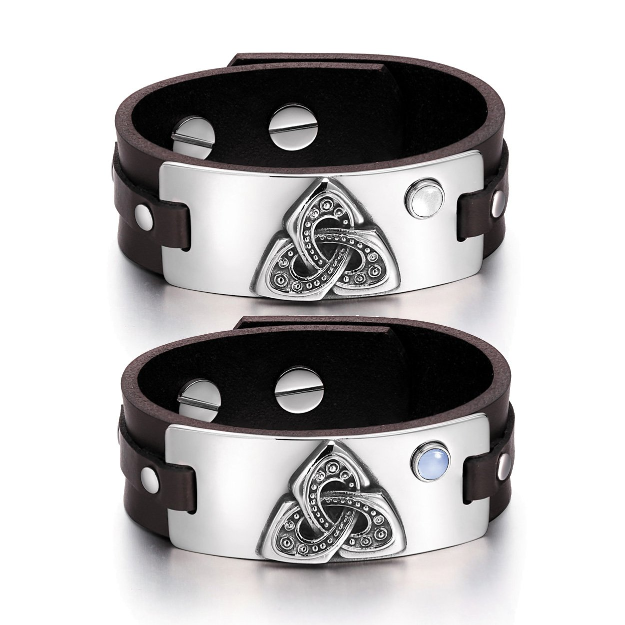 Celtic Triquetra Knot Amulets Love Couples White Blue Simulated Cats Eye Brown Leather Bracelets