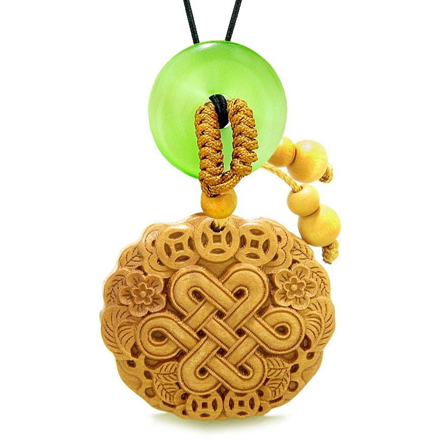 Celtic Shield Knot Lucky Coins Car Charm Home Decor Green Simulated Cat Eye Donut Protection Amulet