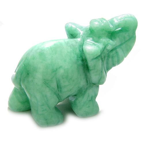 Amulet Green Peace Jade Elephant Carving Evil Eye Protection Powers Pocket Desk Totem with Pouch