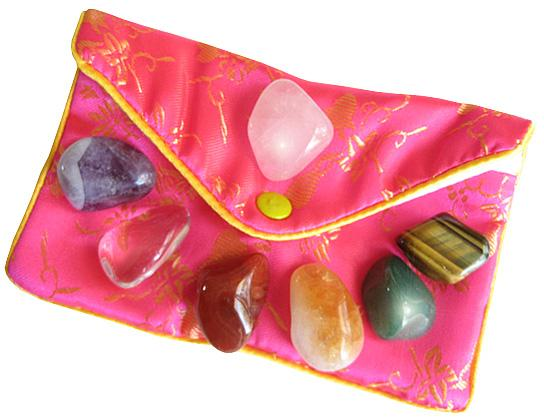 Lucky Chakra Talisman Gemstones In Pink Pouch