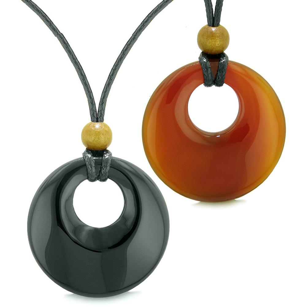 Large Medallion Coin Donuts Love Couples or Best Friends Magic Amulets Set Agate Carnelian Necklaces