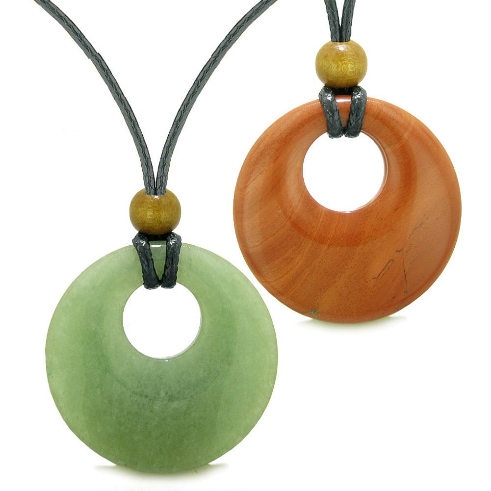 Large Medallion Coin Donuts Love Couples or Best Friends Magic Amulets Set Green Quartz Jasper Necklaces