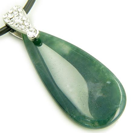 Crystal Tear Drop Exclamation Moss Agate Gem Pendant Necklace