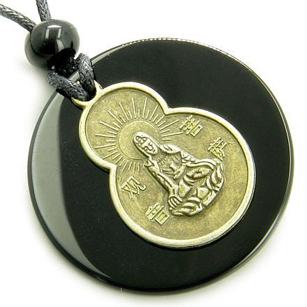 Black Onyx Kwan Yin Quan Magic Circle Spirit Talisman Necklace
