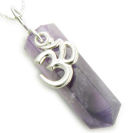 Infinity OM Amethyst Crystal Point Pendant on Silver Necklace