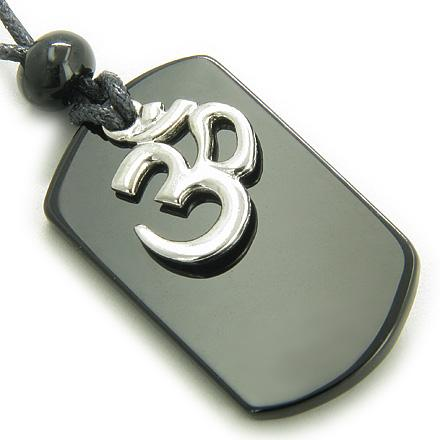 Black Onyx OM Spiritual Talisman Gemstone Crystal Tag Necklace