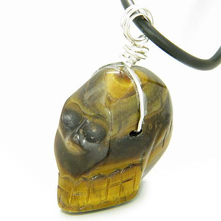Crystal Skull Gemstone Silver Necklace Pendant In Tiger Eye