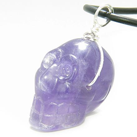 Safe Travel Protection Crystal Skull Silver Amethyst Necklace