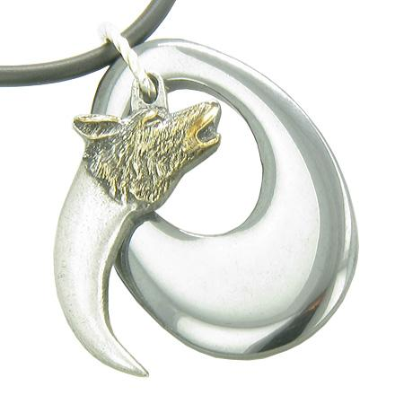 Amulet Protection Wolf Head Claw Hematite Crystal Gem Necklace